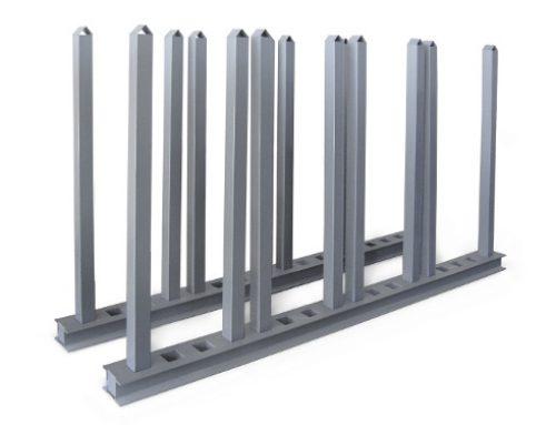 Pareja de barras horizontales y verticales galvanizadas o pintadas