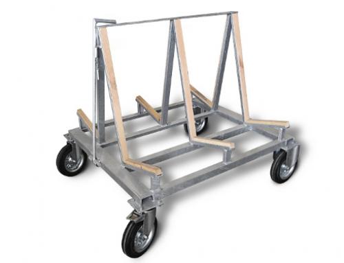 Carro manual con caballete de tres apoyos galvanizado