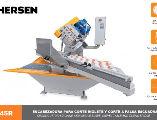 Cross cutting machine with single blade, swivel table and tilting bridge