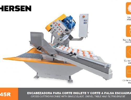 Cross cutting machine with single blade, swivel table and tilting bridge