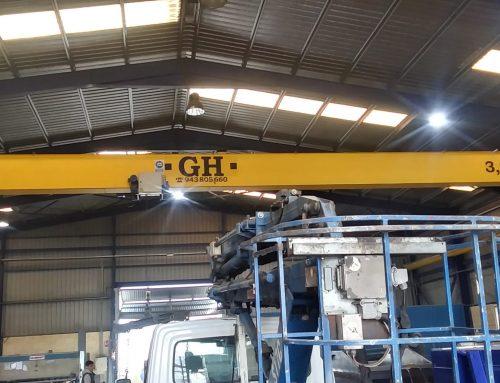 GH Single-girder overhead crane of 3,2 tonnes.